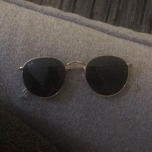 Ray Ban Gold Trim Round Glasses